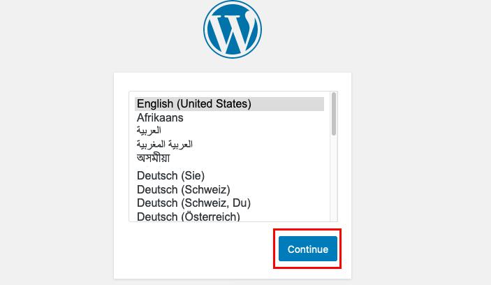 wordpress language selection image