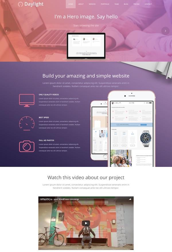 Daylight WordPress Theme features image