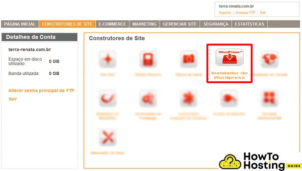 Terra Empresas hosting WordPress installation navigation image