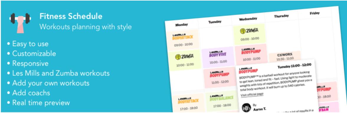 Fitness Schedule WordPress Workout Builder Plugin image