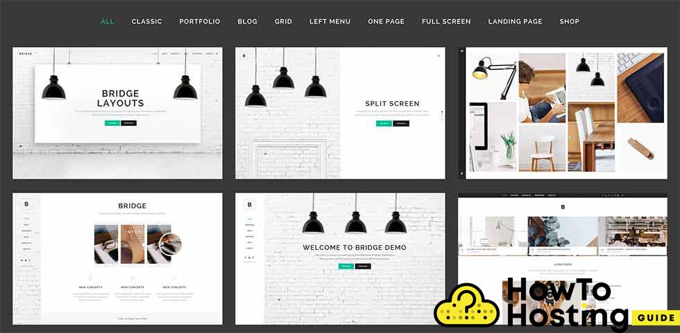 Bridge WordPress Theme layouts