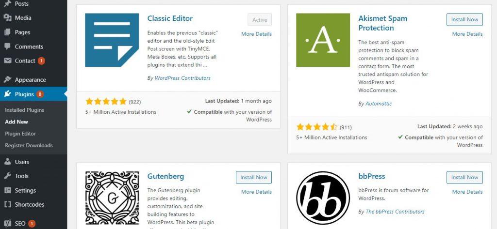 installa i plugin di WordPress