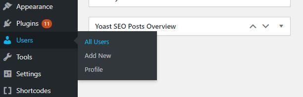 all users wordpress settings