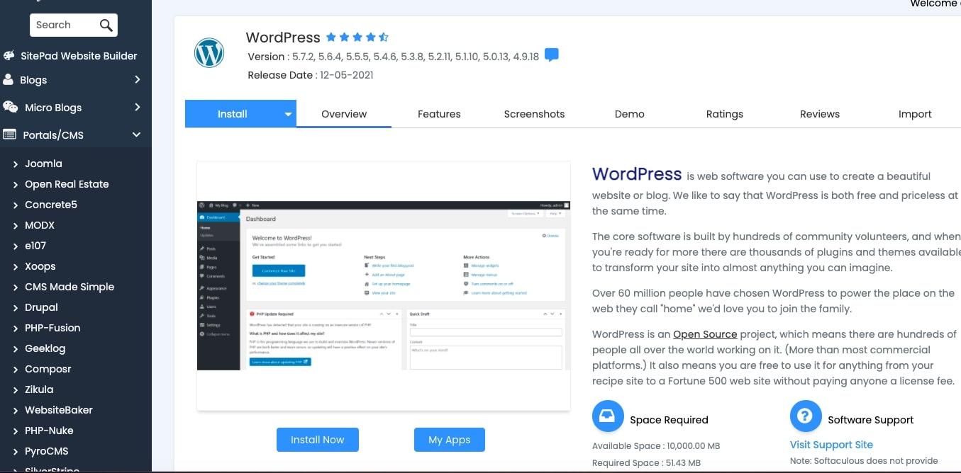 softaculous wordpress install step 2