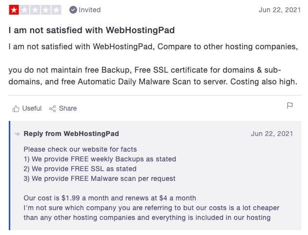 WebHostingPad customer opinion